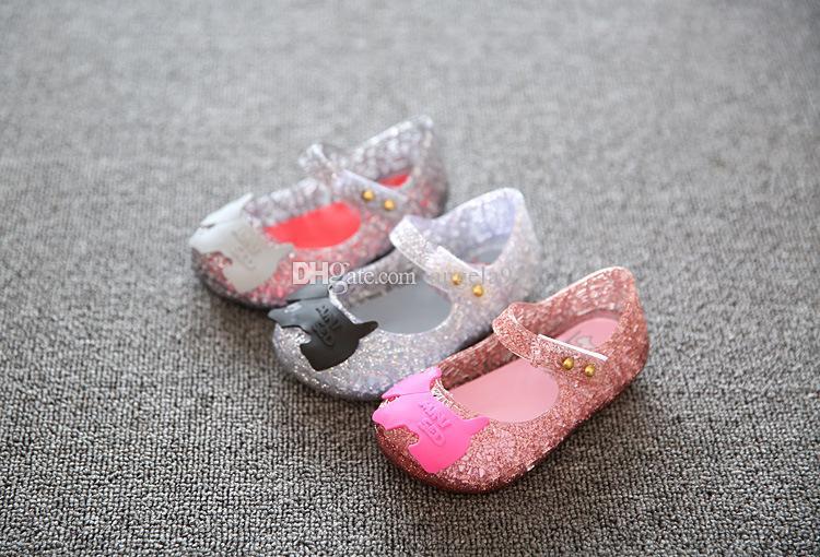 Melissa Campana Zig Zag bambini sandali vuoti gelatina pattini della principessa PVC morbido pattini inferiori 24-29 libero di trasporto C742