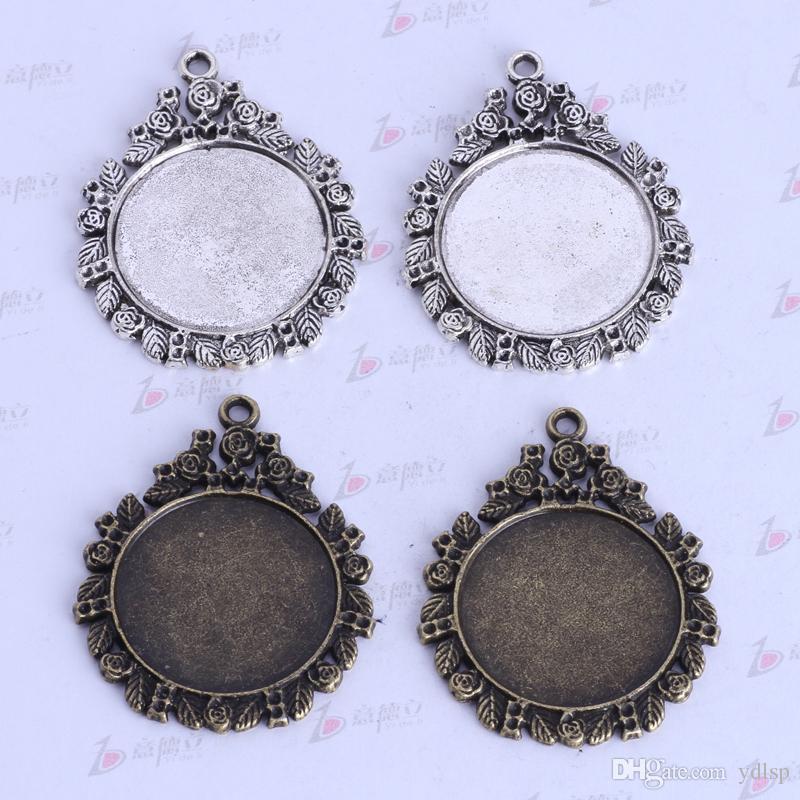 44.9 * 35.8 * 2.4mm ronda base de corcho amuletos vintage antiguo Plata / aleación de bronce colgante de zinc joyería DIY colgante collar en forma / 2526