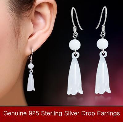 dangling earrings Luxury big glass dangling earrings 925 sterling silver Fashion bridal Wedding dangle brinco prata Jewlery gift for girls