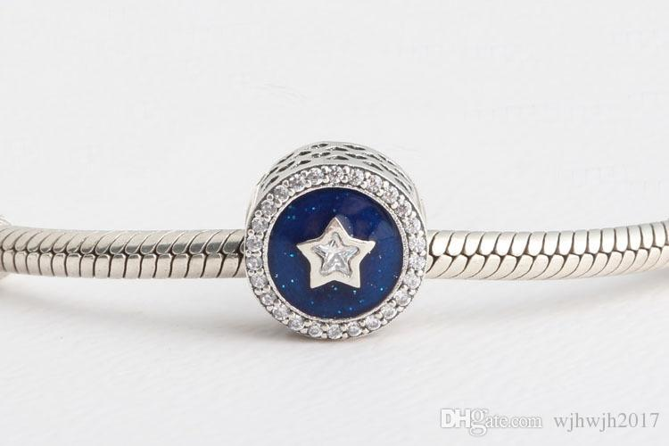 Christmas Gifts Authentic 925 Sterling Silver Jewelry Royal Blue Sky With Clear Crystal Star Beads Fits Brand Bracelet DIY Fashion Jewelry
