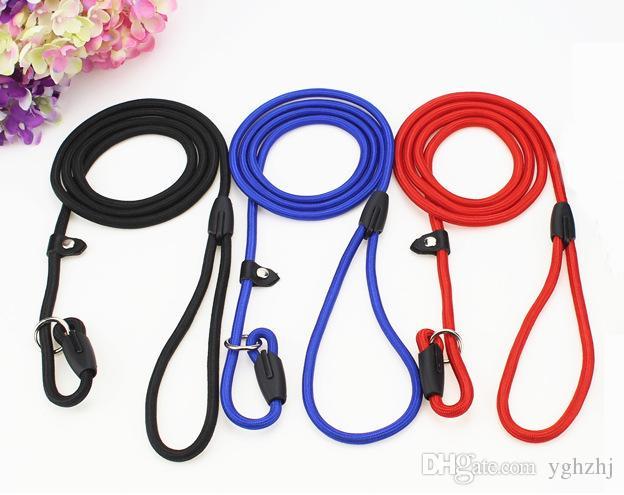 Laisse en nylon de laisse de formation de chien de corde, couleurs rouges bleues noires de collier pour de petites races