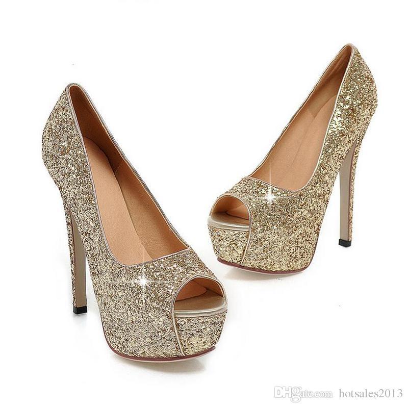 Woman Wedding Super Lady Heels High Dress Evening Toes Gorgeous Fashion Bridal Peep Nightclub Sandals Gold Shoes TOPXiukZ