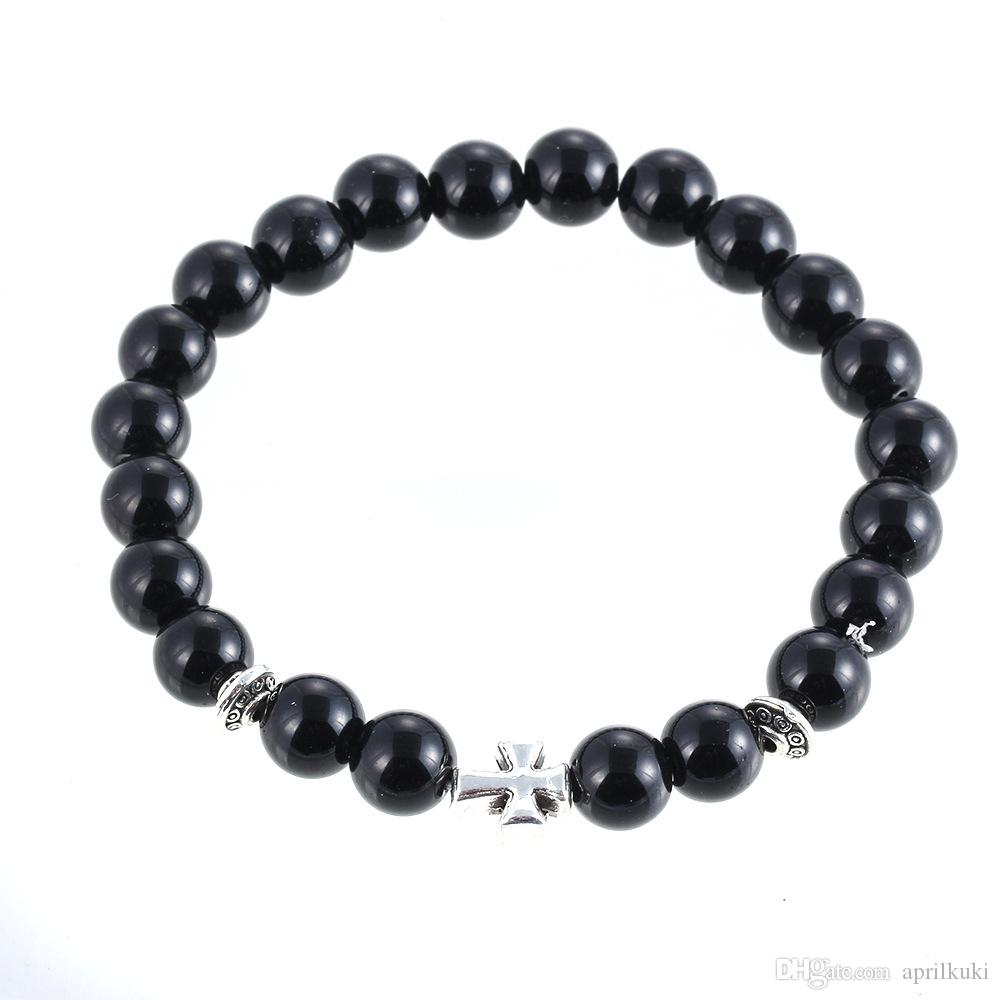 2016 New Arrival Mens Women Beaded Jewelry 8mm Buddha Beads Matte Black Mala Gallstone Cross Bracelets Party Gift Yoga Jewelry