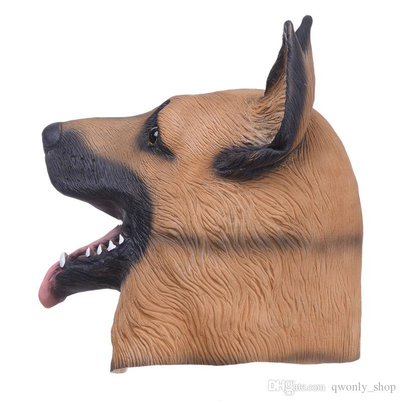 Animal Dog Head Full Face Latex Party Mask Halloween Dance Party Costume Wolfhound Masks Theater Toys Fancy Dress Festival Gift