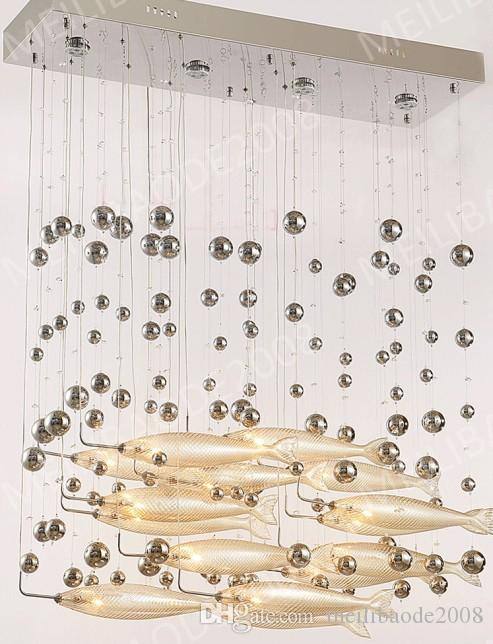 BE33 Modern LED Glass Cognac Color Flying Fish Chandeliers Dining-room Bar Pendant Lights Crystal Ceiling Lamps For Living Room Hotel Lobby