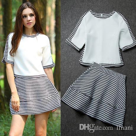 2017 Women Apparel Polka Dot Skirt Outfit Crop Top And Skirt Set ...
