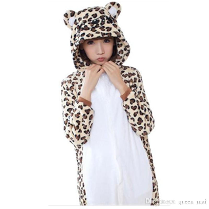 1ecc6199f Leopard Bear Onesies Unisex Adults Animal Pajamas Flannel Hoodie ...