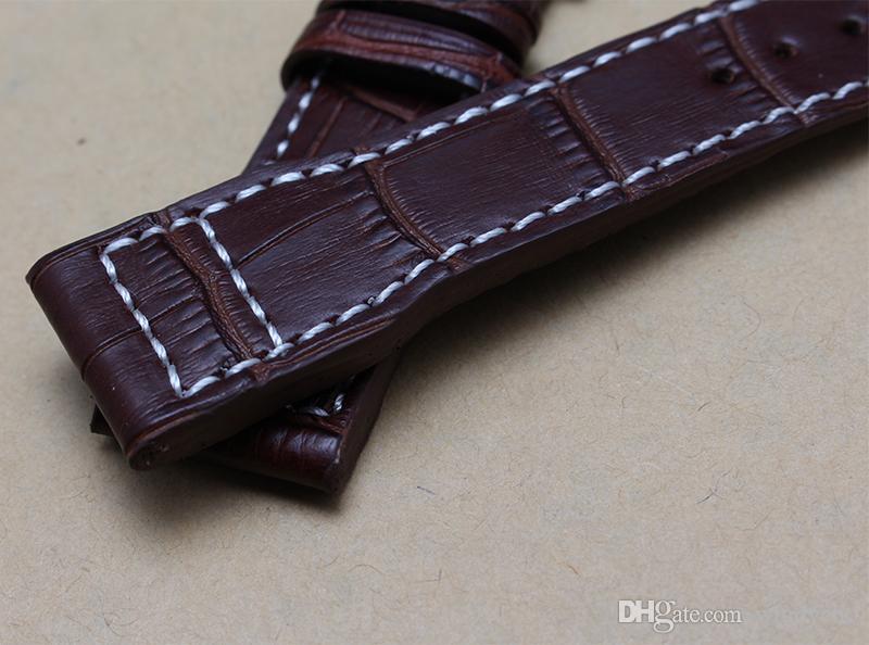 Banda de reloj 22mm negro hecho a mano marrón cocodrilo genuino patrón correa de reloj de cuero pulseras banda para marca deportiva relojes nuevo