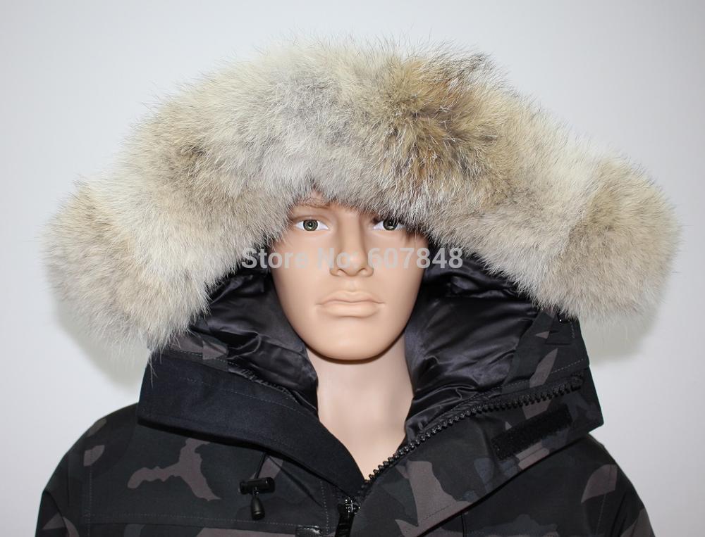 2017 Yeni Varış Marka MANASEAMON Erkekler Kış Coat Langford Parka Kaz tüyü Tüy Ceket Palto Coyote Kürk Siyah Etiket G04