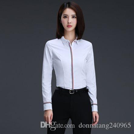 02f05efe09bcb Compre Blusas Para Mujer Ropa De Trabajo Camisa De Manga Larga Blusa Causal  Diseño Simple Damas Oficina Camisa Diseño Formal Verano A  9.94 Del ...