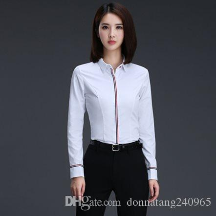8918b198ecf9fb 2019 Women Blouses Work Wear Long Sleeve Causal Blouse Shirt Simple Design Ladies  Office Shirt Formal Design Summer From Donnatang240965