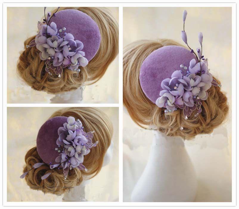Lila Braut Hüte 100% handgemachte Braut Zubehör Vintage Hochzeit Blume Haarschmuck