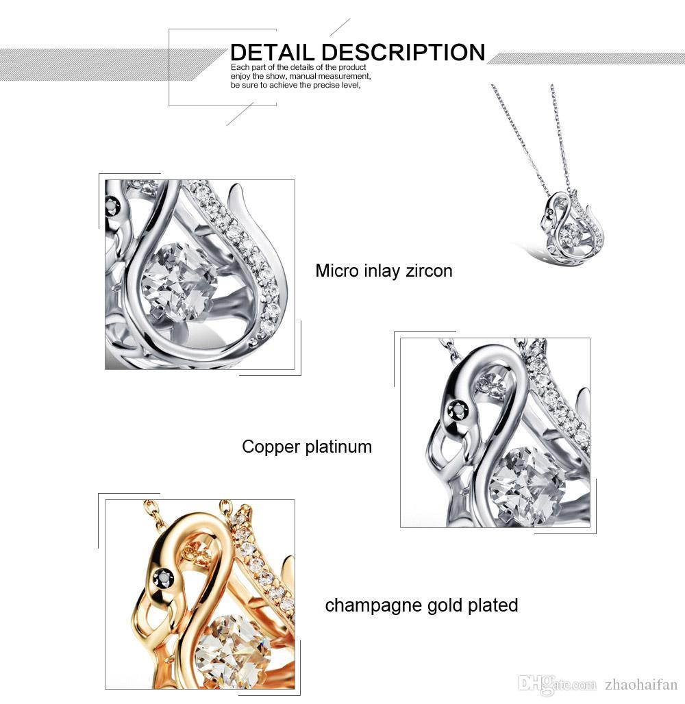TCN BIJOUX Mignon Cygne Pendentif Colliers Mode Femme Platine / Champagne Plaqué Or avec Cubique Zircone Femmes Bijoux SKX643