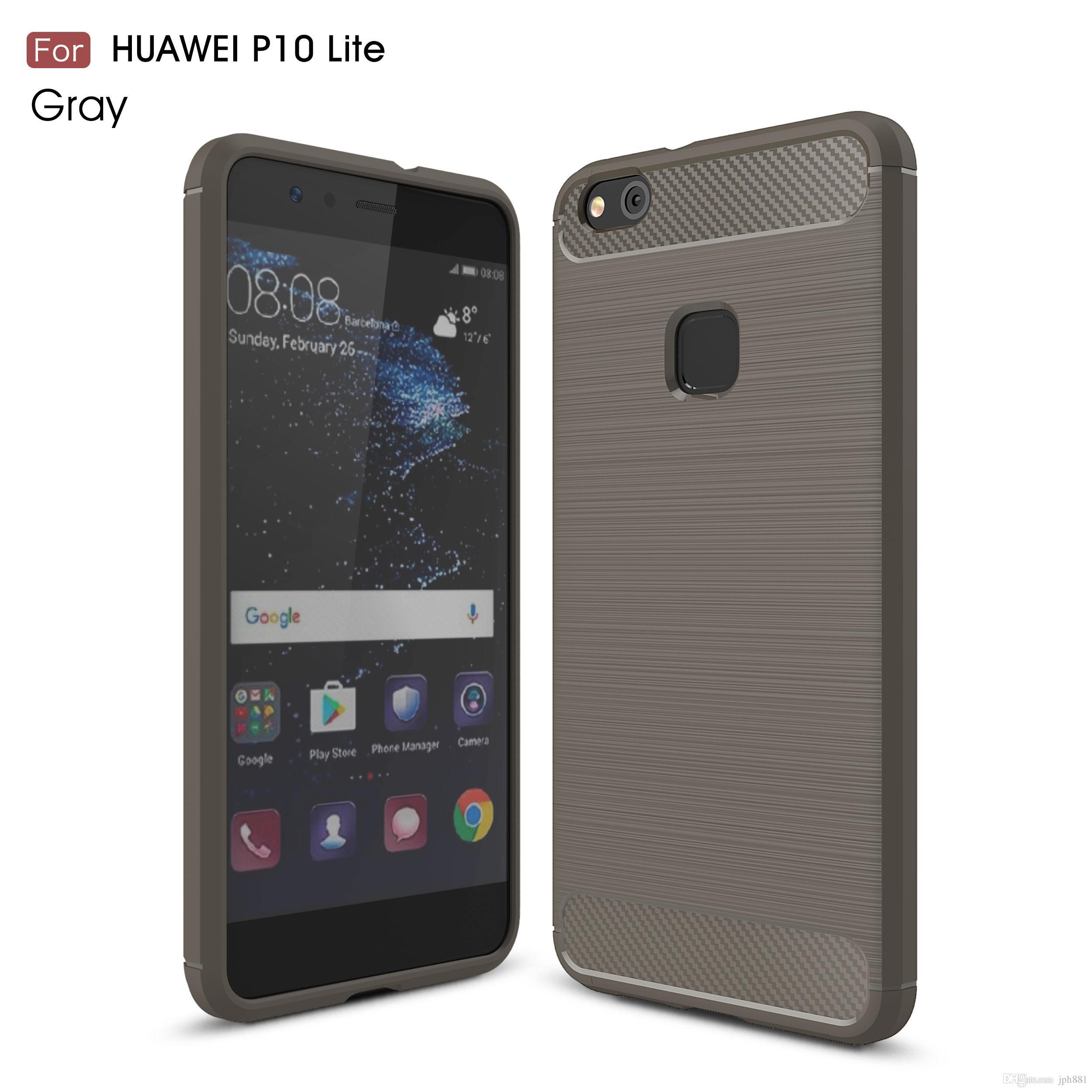 Carbon Fiber Case for P10 Lite NOVA 2 P8 Lite P9 Lite Enjoy 7 Plus Y3 Y5 2017 Brushed Soft TPU Shockproof Cellphone Back Cover