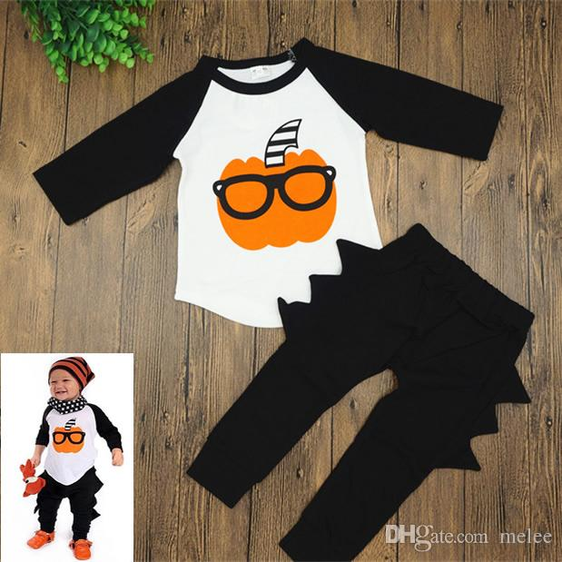 Cute Boys Sunglasses Pumkin Halloween set Outfits LS t shirt & irregular pants sz 70-100 Up to 24 Month Toddlers