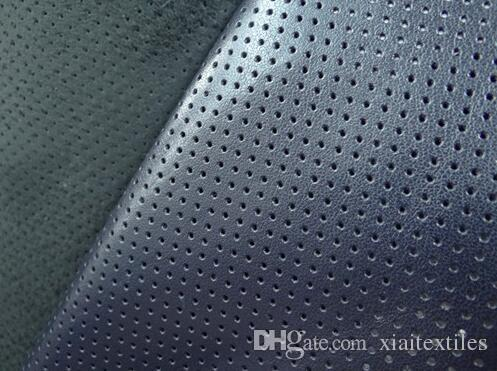 Wholesale black brown perforated leather simulation fabrics,katoen stof,pu leather bags clothing fabrics meter, 3meter/1lot A001