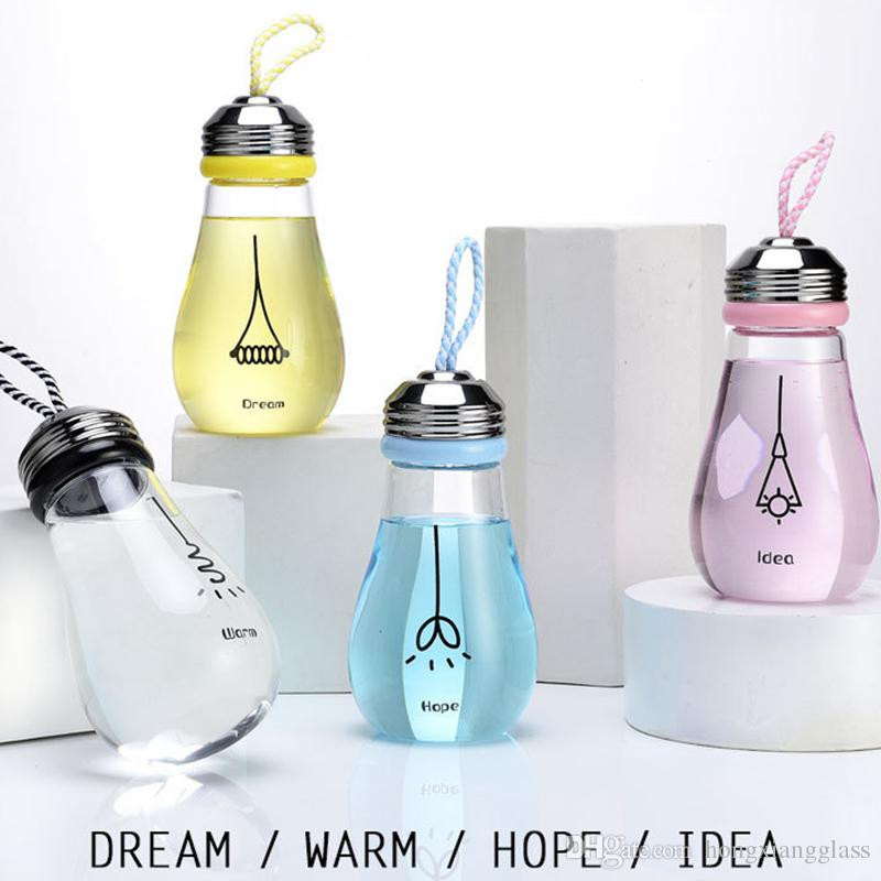 Light Bulb Glass Water Bottle With Rope Creative Cute Travel Outdoor Fruit  Juice Milk Tea Glass Bottle Milk Bottle Sports Water Bottles For Kids  Sports ...