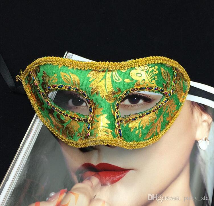 7 Kinds Color Choose Gold Cloth Coated Party Halloween Masquerade Face Masks