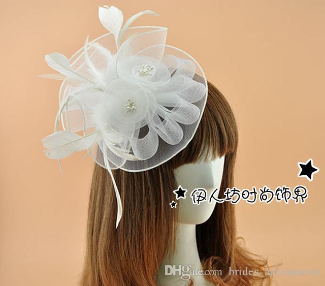 Großhandel Weiße Blumen Feder Brauthaar Zusätze Haarclip Headwear ...