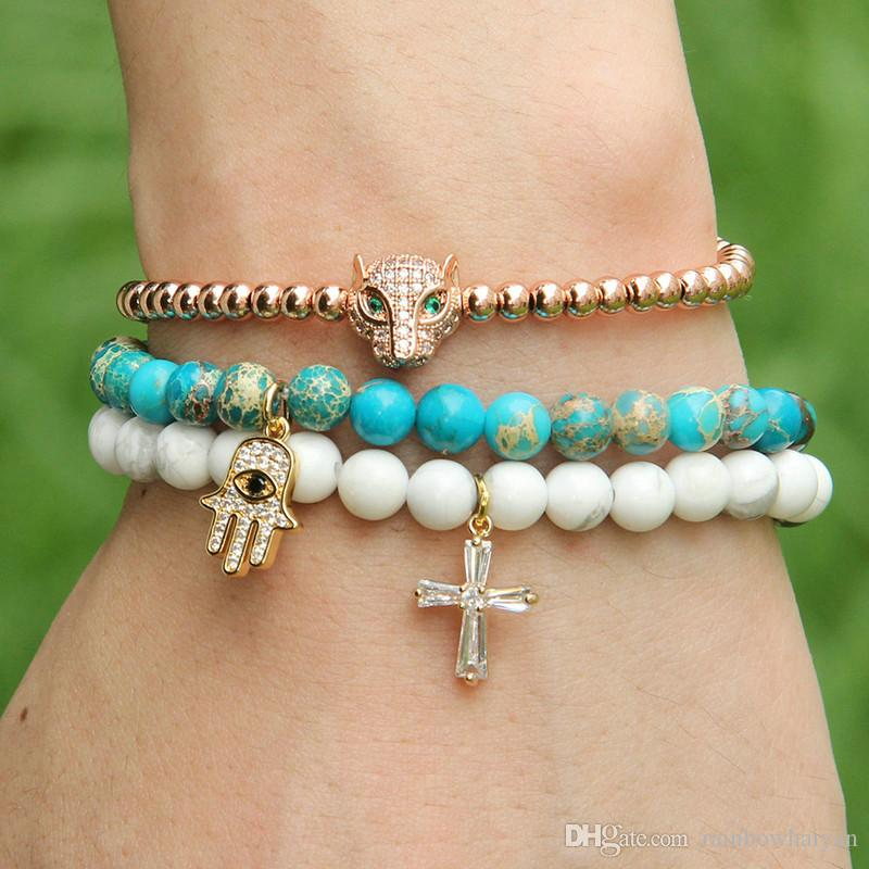 Easter Wholesale 6mm Natural White Howlite Marble Stone Beads with Micro Paved Clear Zircons Spacer Cz Beads Cross Bracelets