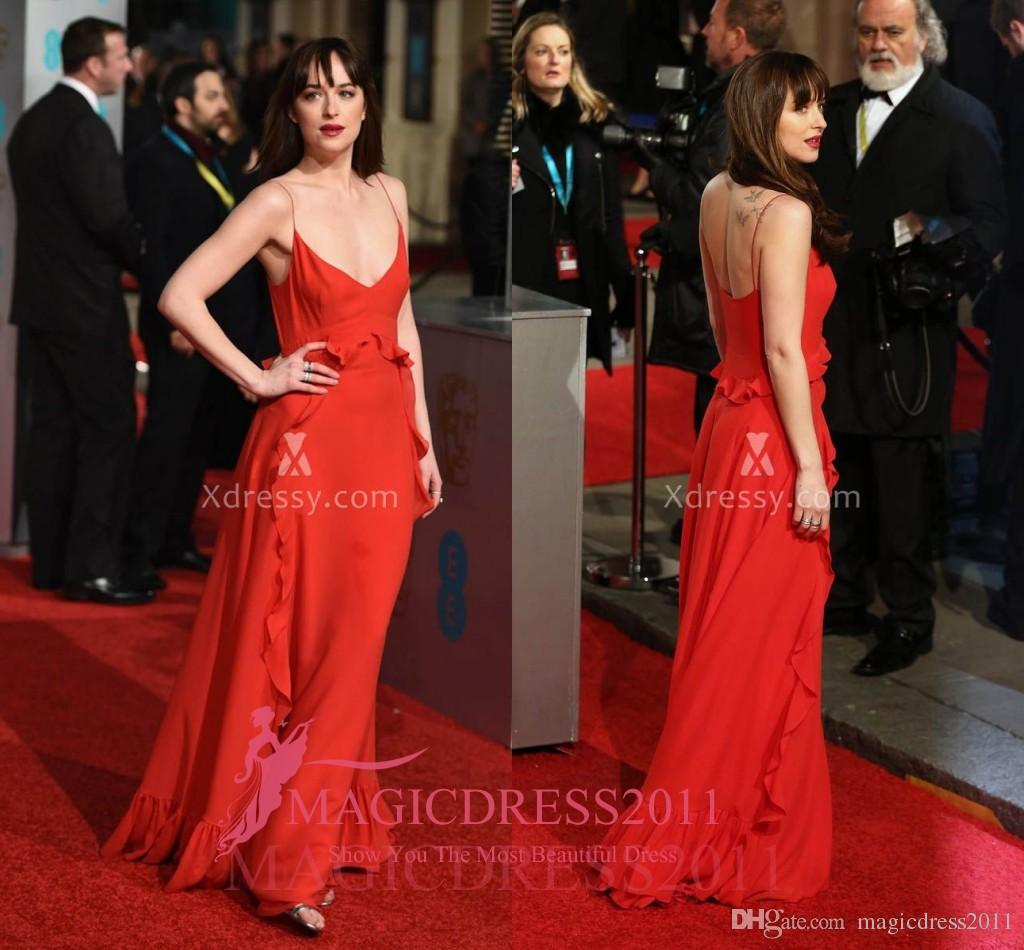 Dakota Johnson Deep V Neck Red Celebrity Prom Dresses BAFTA Awards 2016 Red  Carpet A Line Open Back Ruffled Chiffon Formal Evening Gowns Celebrity Dress  ... 7299bdedaac7