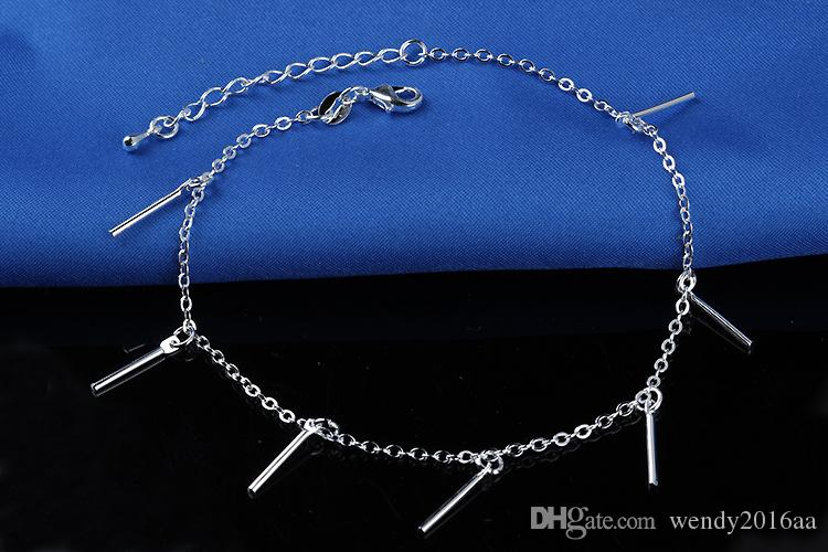Retail 925 sterling Silver Anklet Unique Nice Sexy Simple Beads Silver Chain Anklet Ankle Foot Jewelry