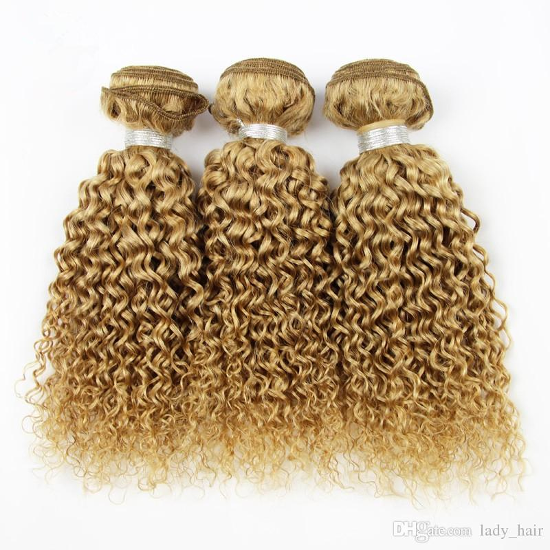 9A Barato brasileño profundo rizado miel cabello humano rubio lote # 27 Strawbery rubio brasileño Virgen cabello humano profundo rizado armadura paquetes