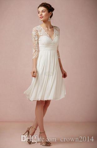 compre 3/4 de manga larga de encaje corto vestidos de novia de la