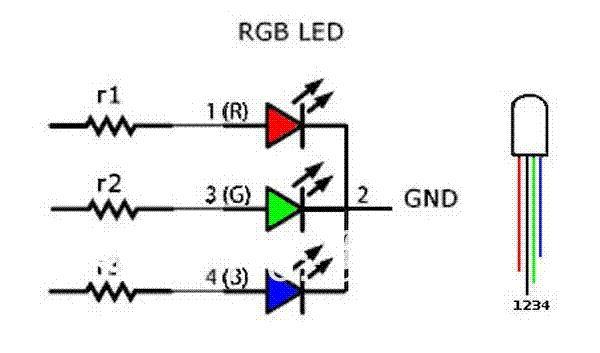 acquista led rgb diodo 5mm 4 perni testa rotonda super