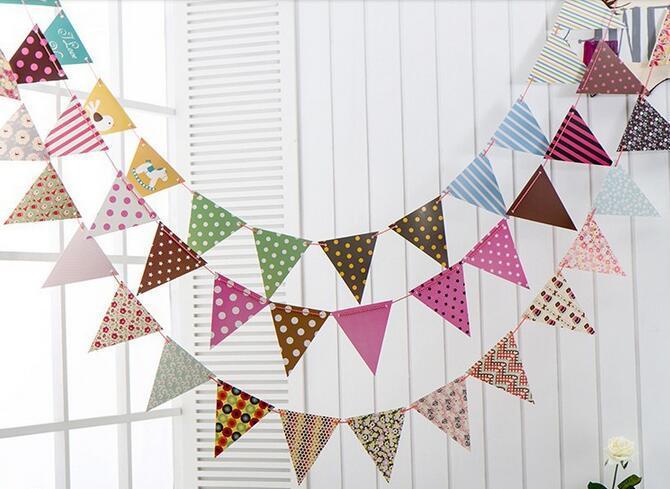 Evento festivo caliente 12 Banderas Banderines Banderines Banderín Guirnalda Boda / Cumpleaños / Fiesta de bienvenida al bebé Decoración del partido