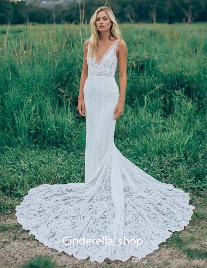 2018 Full Lace Mermaid Wedding Dress V Neck Sweep Train Illusion ...