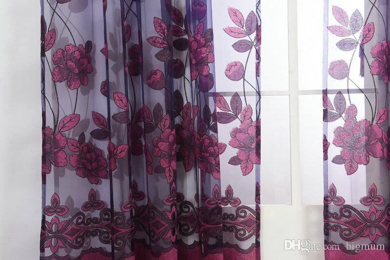 جديد وصول موضة نافذة مخصص مطرز / البنفسجي تول الخرز الستار عن غرفة النوم تصميم الستار الفوال الهائل