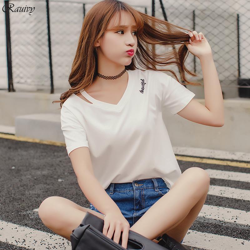 8731ffa4d6e3 Wholesale Harajuku Shirt Women Korean Summer 2017 Ulzzang Rock Bts T Shirt  Women White Sexy Tops Embroidery Letter V Neck T Shirt Women Humor Shirts  ...