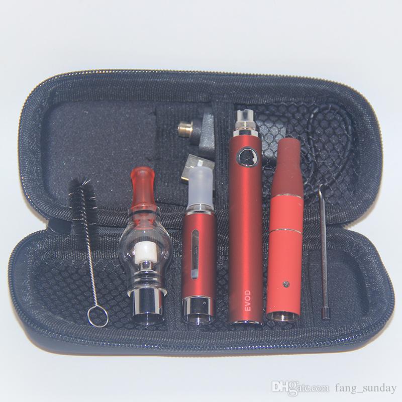 E cigs 3in1 Vaping Herbs Tout en un Dry Herb Vaporisateur E atomiseur de cire liquide eVod 3 en 1 Vapes Pen Starter Kit