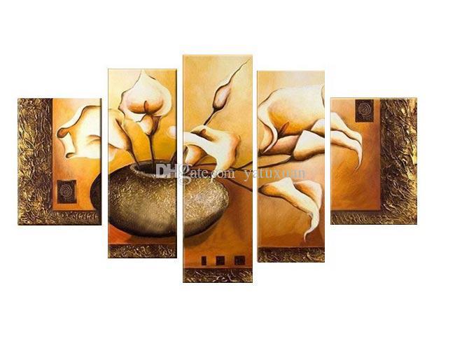 شحن مجاني حار بيع الحديثة جدار اللوحة الأبيض الزهور ديكور المنزل الفن صورة زيت على قماش 5 لوحة قماش الفن HH5001