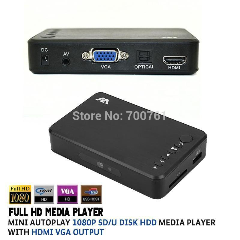 Wholesale-Full HD 1080P SD/U Disk HDD Media Player USB External multimedia player With HDMI VGA Output Support MKV H.264 RMVB WMV