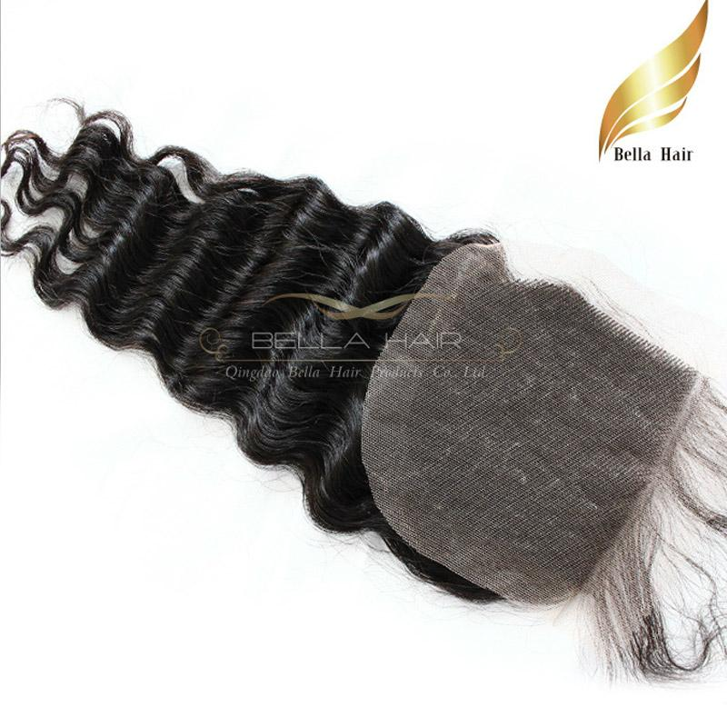 Brazilian Hair Cheap Human Hair Weave Lace Closure Deep Wave Curly Extensions Top Closures Weave 4x4 Natural Color Bellahair