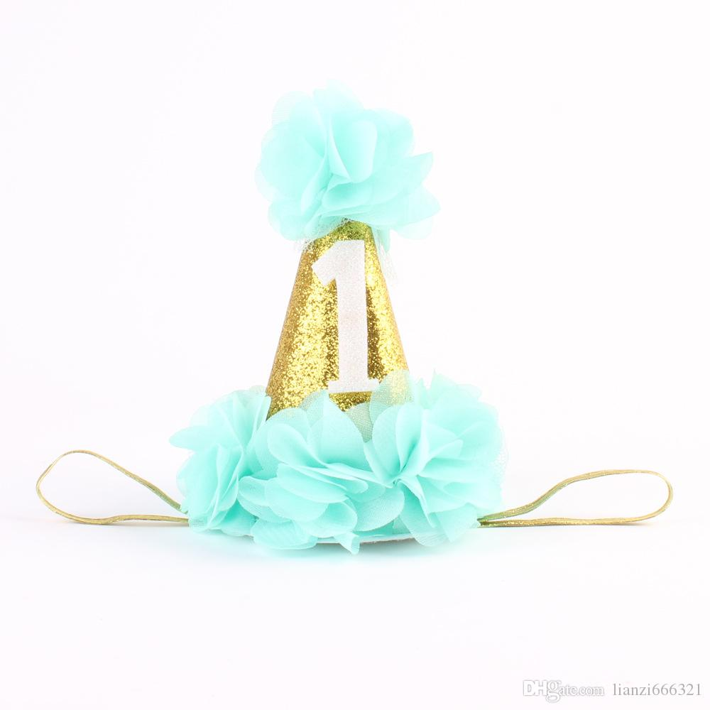 Baby Girls First 1st Urodziny Hat Party Pałąk Cake Smash Prop Photo Outfit New! Girls Crown Headband HJ126