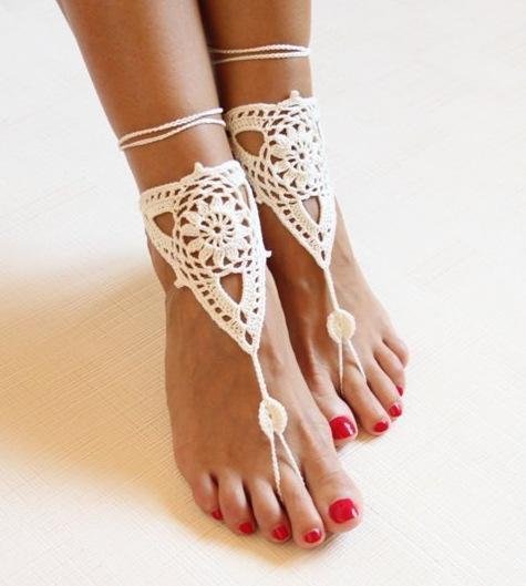 Nueva moda hecho a mano tobilleras de ganchillo sandalias descalzas novias zapatos Playa Piscina Desgaste de la yoga Tobilleras Hippy boho chic toe anillo pulseras Accesorios