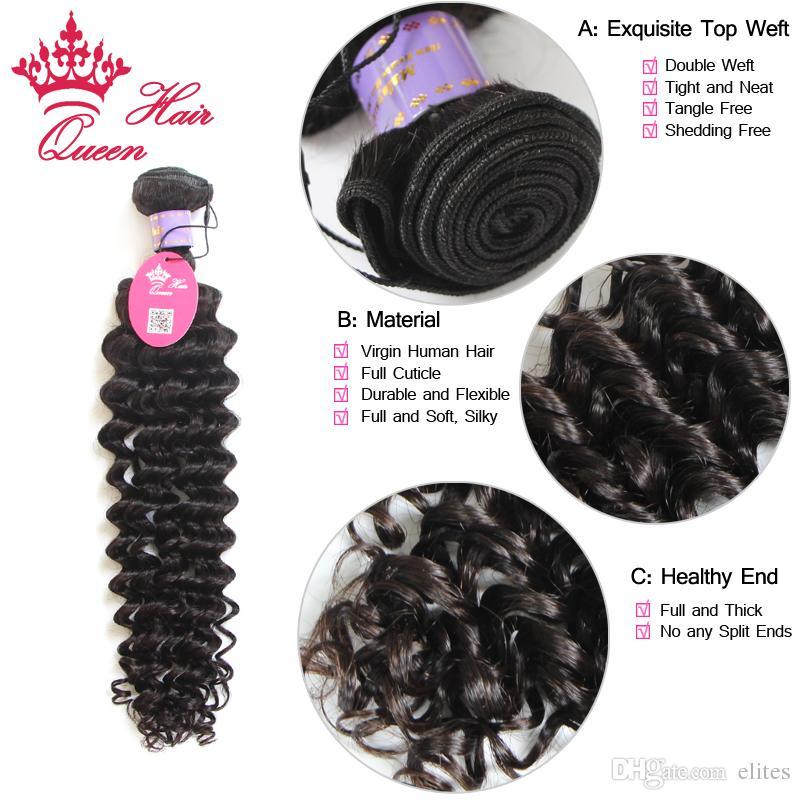 Cabelo de Cabelo Rainha Virgem Malásia Deep Wave Virgem Cabelo Apertado Curl 8