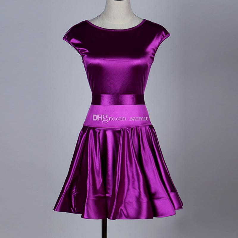 Latin Dance Kleid Frauen Mädchen anpassen Größe Tango Salsa Tanzkleid Satin D181 lila Kurzarm Rüschensaum