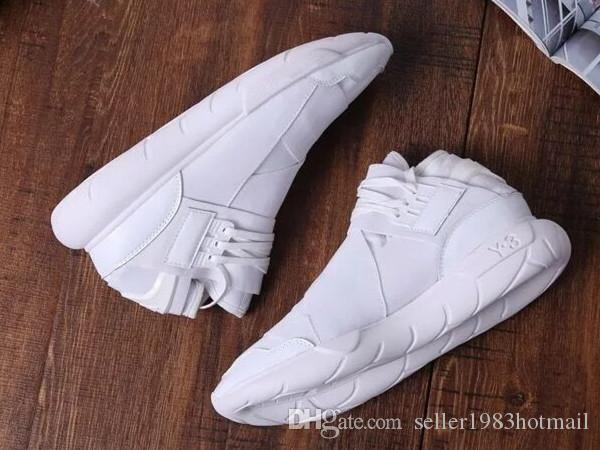 16fcf369c All White Color Mens Y3 Qasa High Top Sneakers Good Quality Womens Shoe  Unisex Men Classic Y 3 Black Red Shoes Boots Size 36 45 Tennis Shoes Ladies  Shoes ...
