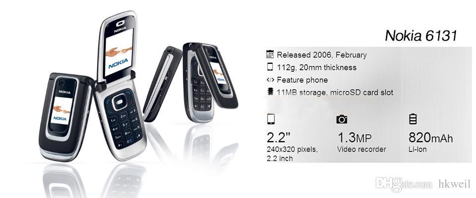 Reacondicionado NOKIA 6131 Teléfono móvil Pantalla de 2,2 pulgadas Banda cuádruple 2G GSM desbloqueado teléfono celular Filp