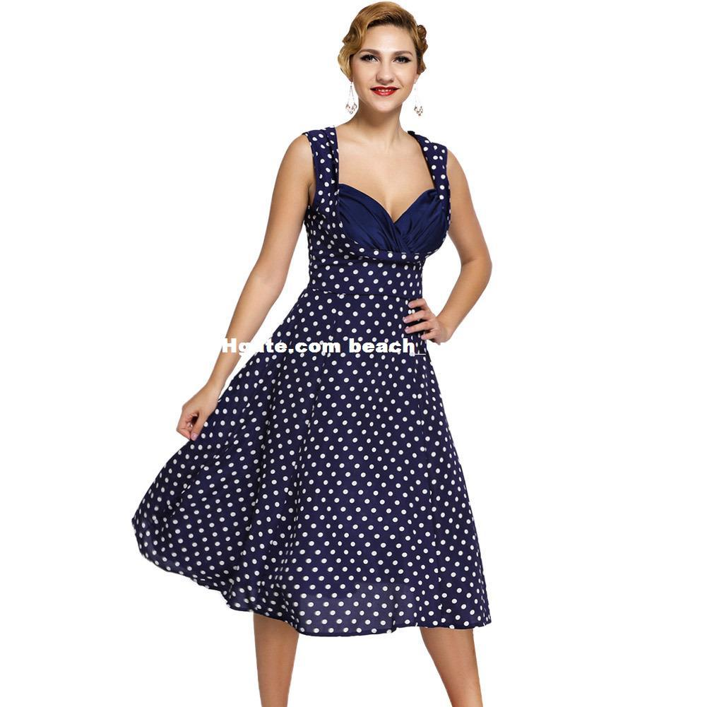M 3xl Plus Size Women V Neck Dresses Dot Sleeveless High Waist