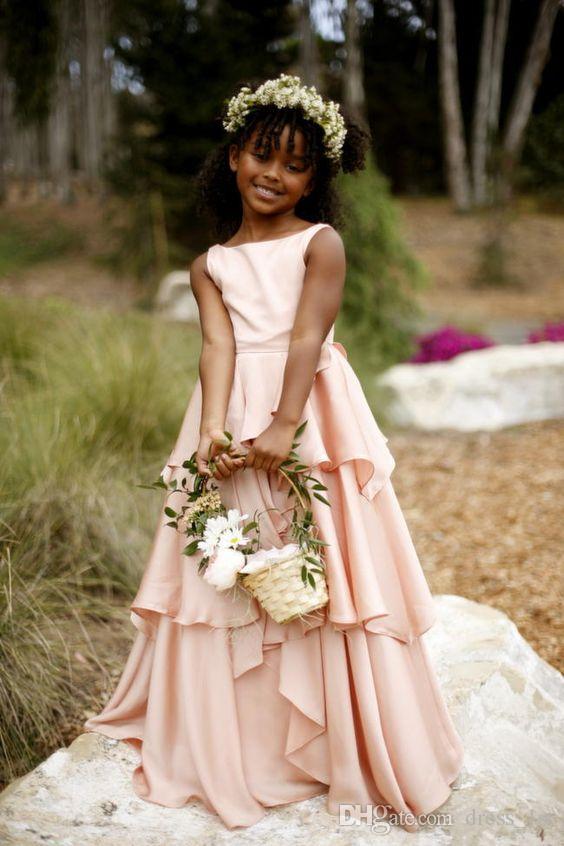 Bohemian 2019 New Flower Girl Dresses Wedding Cheap Jewel Backless Tiered Ruffles Floor Length Blush Pink African Girls Formal Dress EN6145