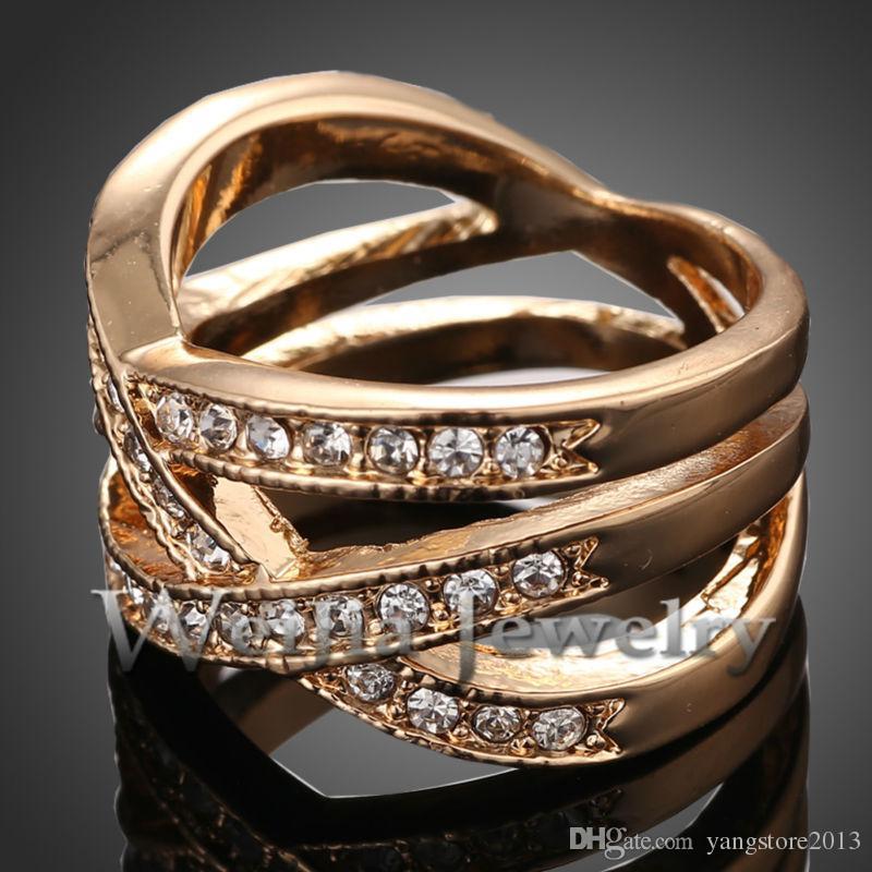 J00780 1 Adet Yeni 2016 Moda Alaşım Avusturya Kristaller Çivili Etrafında 24 k Altın Yüzük Erkekler Için Kadınlar Için En Iyi Hediyeler ÜCRETSIZ KARGO