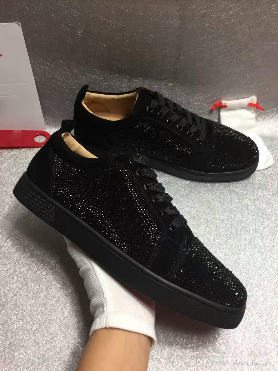 fc0c07d488 2018 New Low Top Black Leather Spikes Casual Red Bottom Luxury Shoes ...