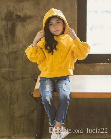 La Corea del Sud nel grande vestito autunnale bambina 2017 nuovi coreani alla moda bambini con cappuccio in due pezzi di jeans