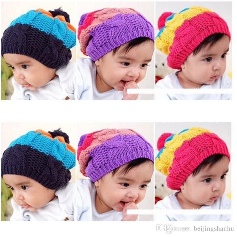 Rainbow Baby Hats Stripe Girls Beanie Kids Cap Bebe Bucket Hat ... 613dd158e05