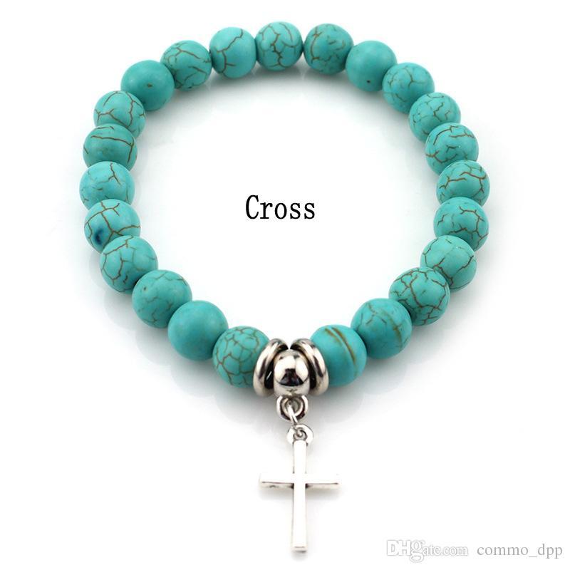 Mode Turquoise Beads Bracelets Arbre Owl Dolphin Cross Palm Charm Bracelets pour homme Femmes Bijoux Accessoires